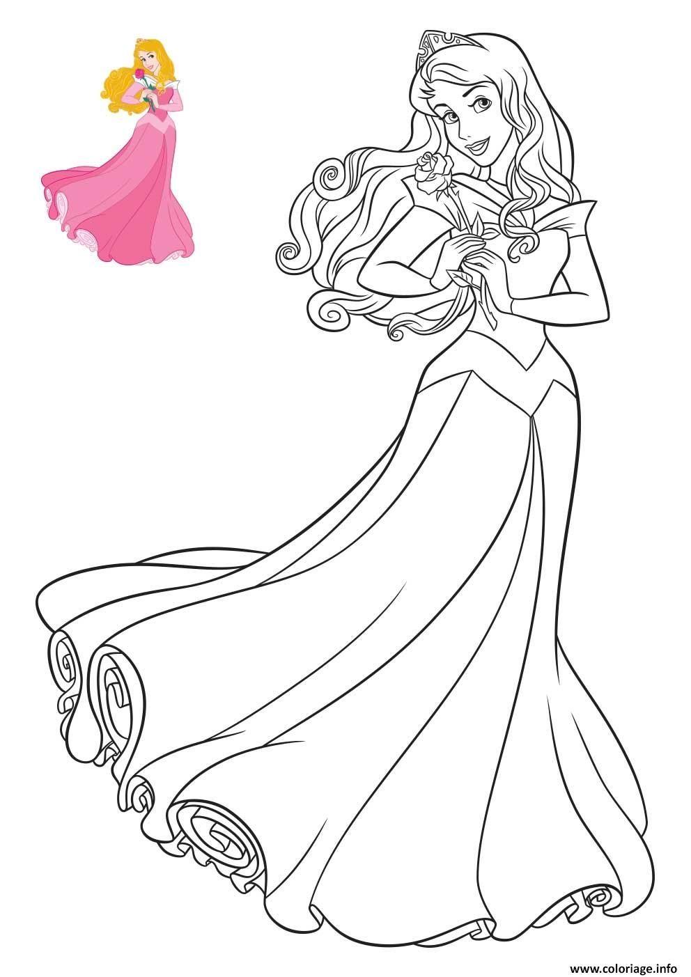 Coloriage Princesse Disney Aurore à imprimer  Coloriage princesse
