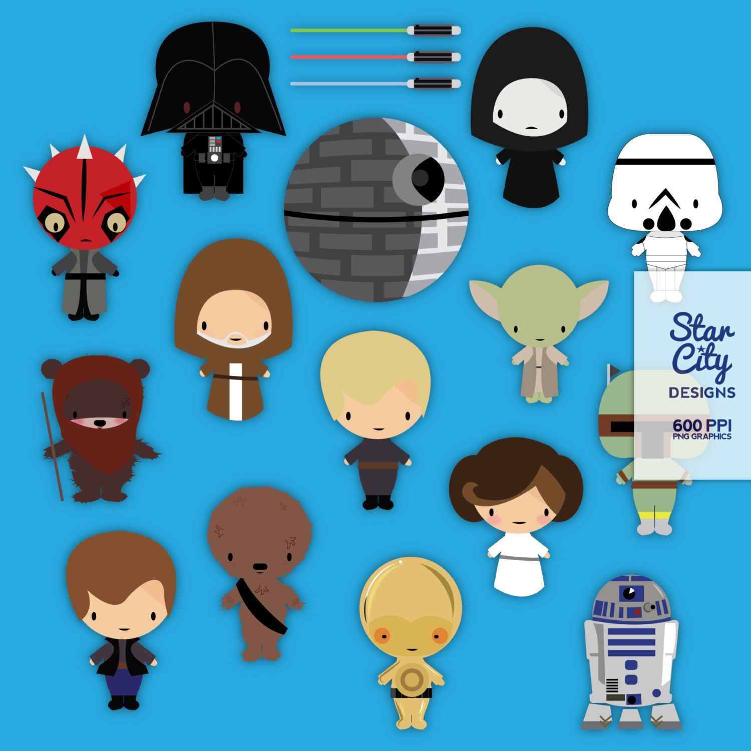 Space Wars Clip Art for scrapbooking, star wars inspired ...