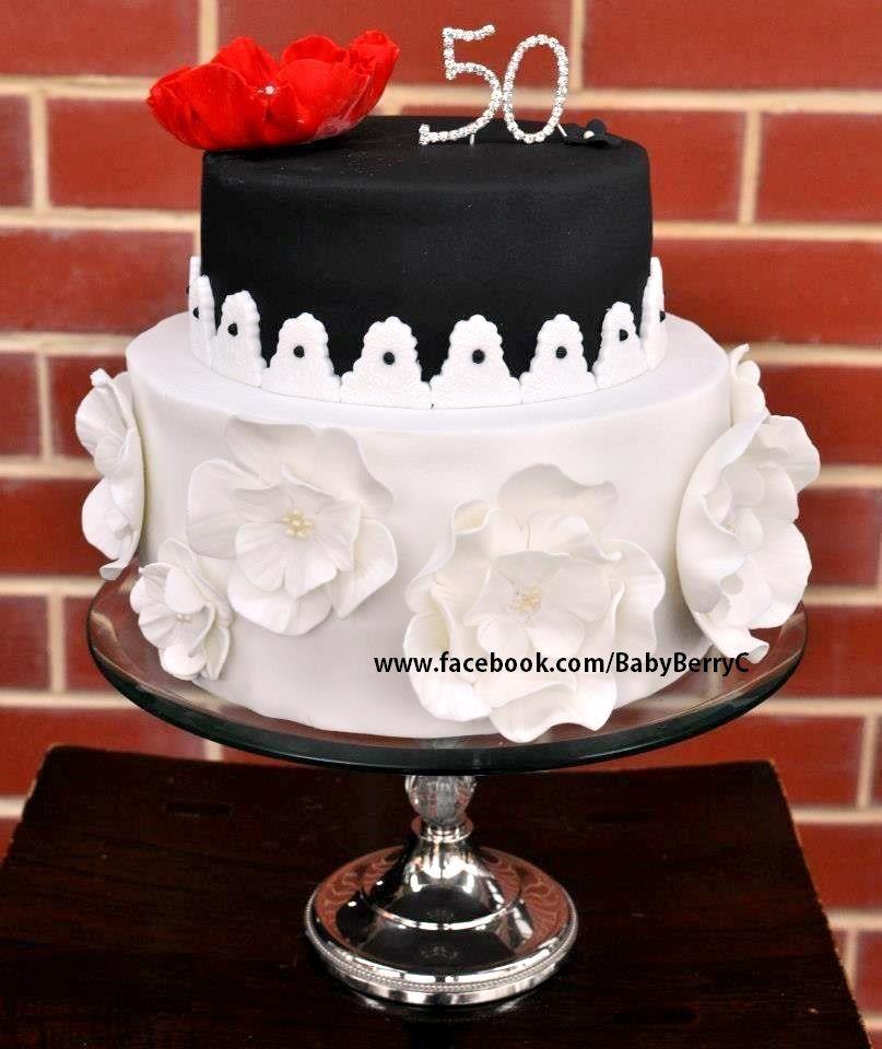 Flowers & Bling Feminine 50th Birthday Cake. Visit Http