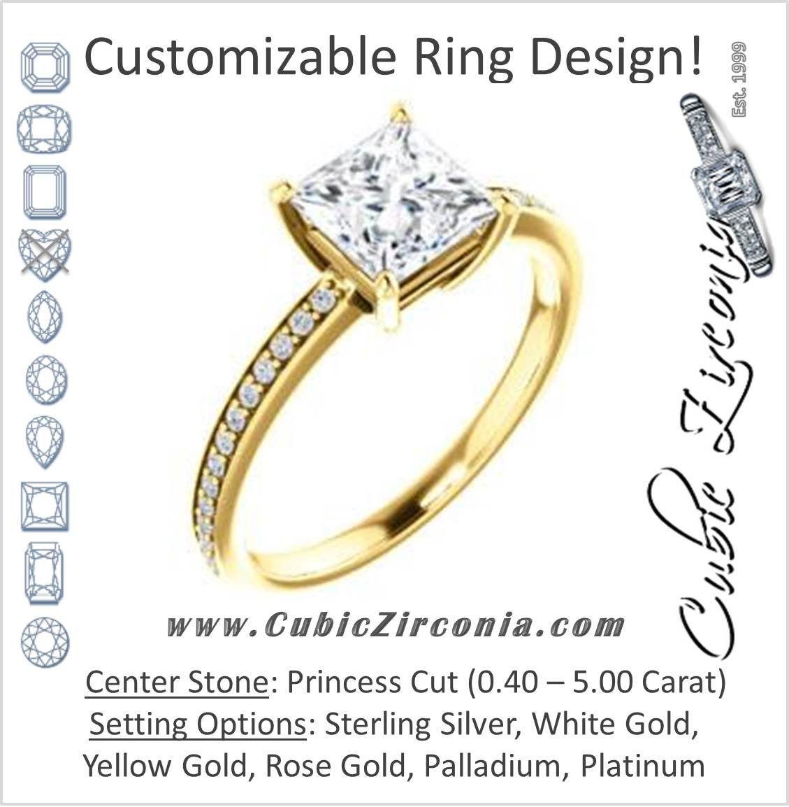 Cubic zirconia engagement ring the majo jimena customizable