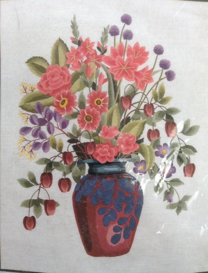 Elsa williams crimson floral vase crewel embroidery kit