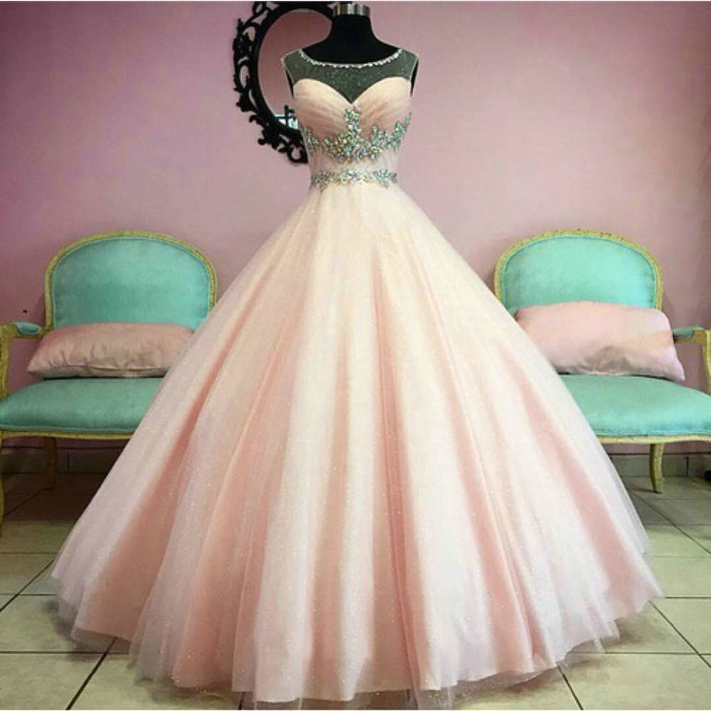 Baby pink quinceanera dresses scoop sheer crystals beaded tulle ball