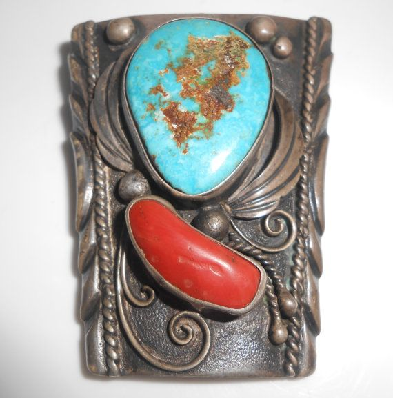 Navajo Sterling Bolo Turquoise Coral Hand by Libbysmomsvintage