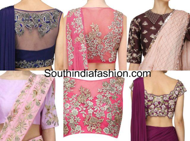 6dc75cdb078639 Plain Saree with Embroidered Designer Blouse ideas