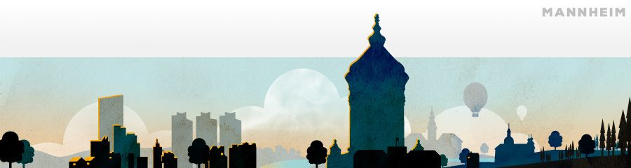 Cool Mannheim by Karen Strempel city silhouette illustration texture