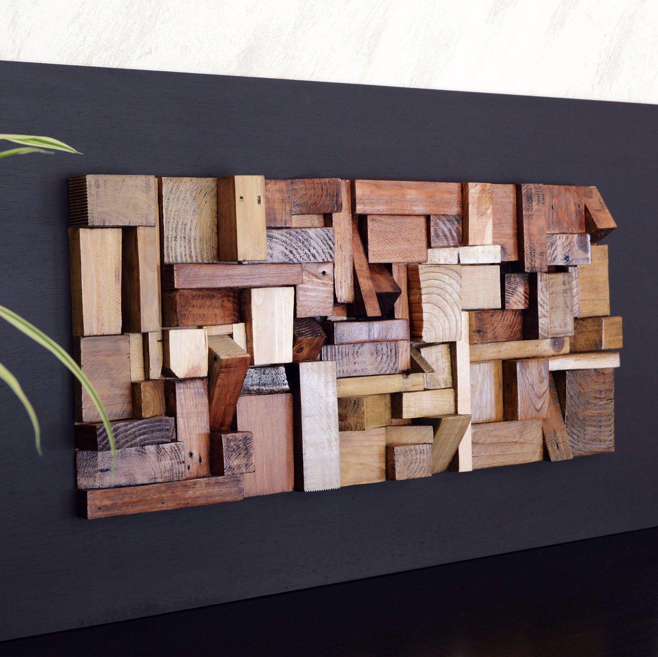 Cuadro de madera reciclada decoraci n dormitorio - Mosaico de madera ...
