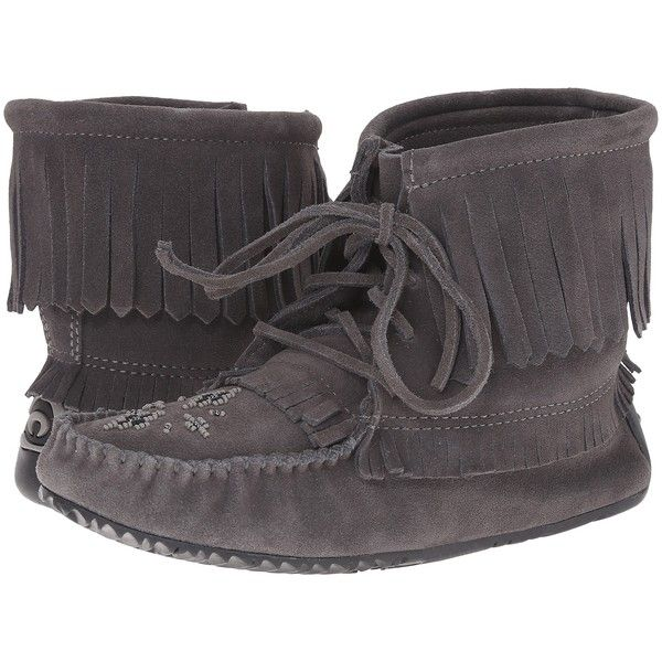 Manitobah Mukluks Harvester Moccasin (Charcoal) Women's Slippers ($45) ❤  liked on Polyvore