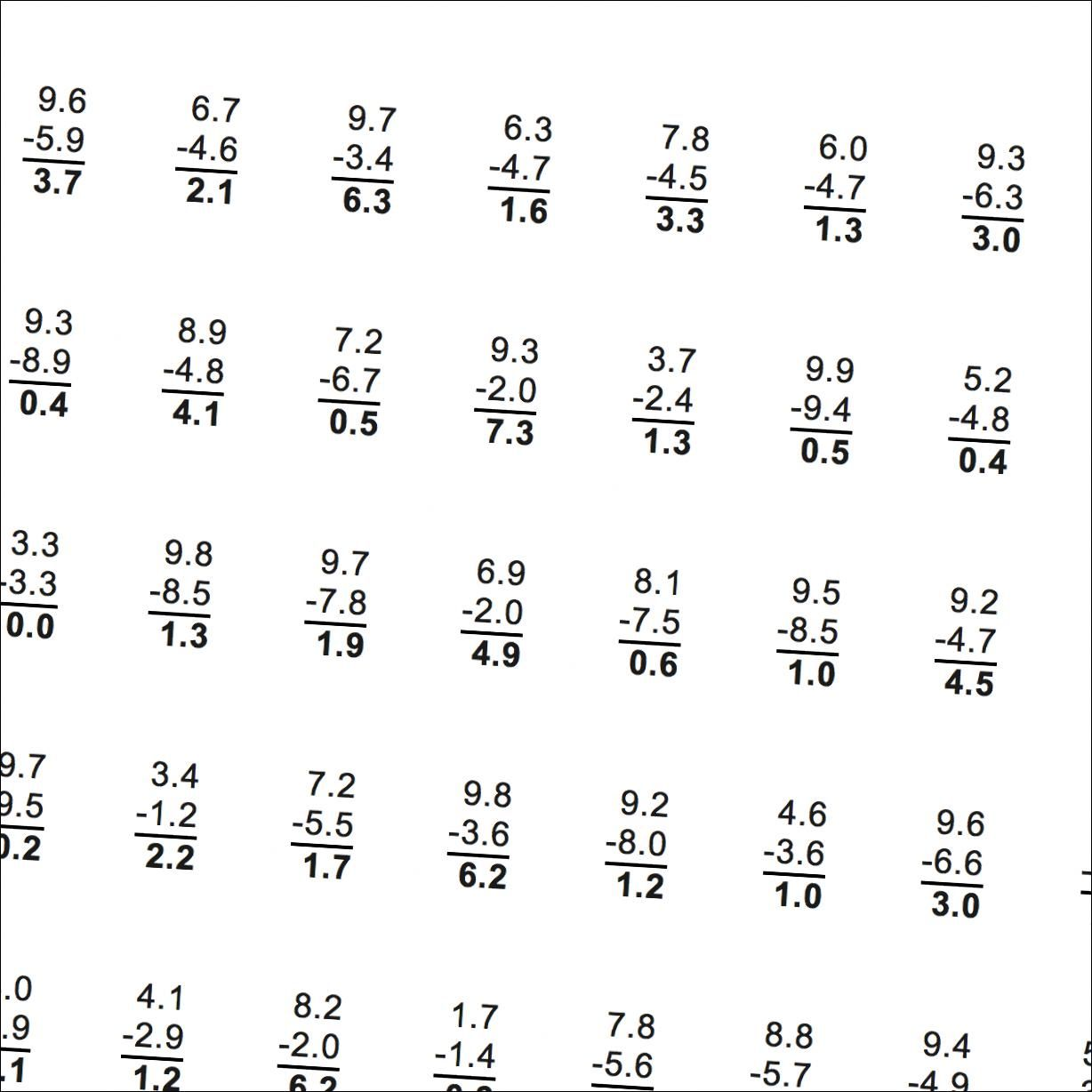 Subtraction Worksheets Subtraction With Decimals