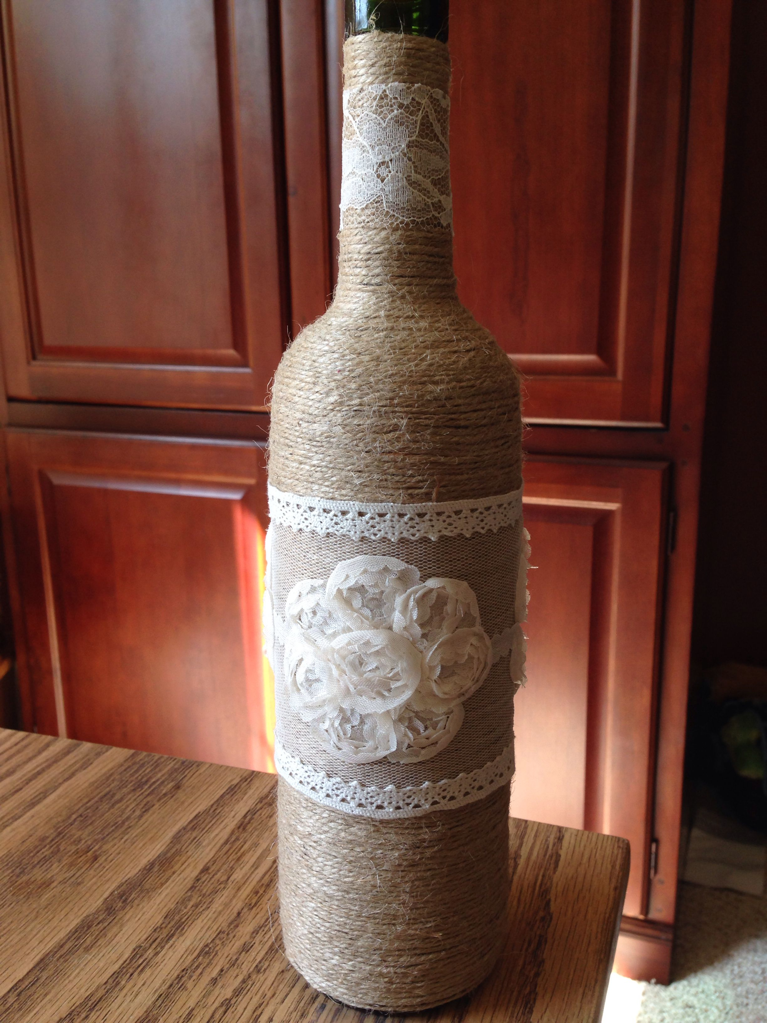 Pin By Joanne Rill On The Crafts I Have Made Wine Bottle Wedding Decor Empty Wine Bottle Crafts Wine Bottle Decor