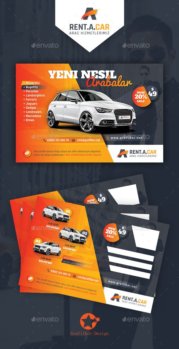 Rent A Car Postcard Templates Postcard template, Psd templates - car flyer template