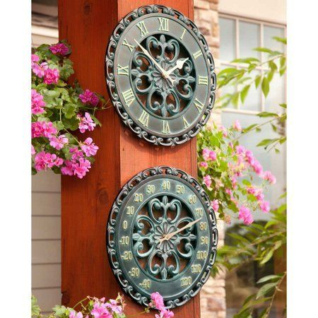14 Medallion Outdoor Clock  Thermometer Wall Hanging Outside Patio Porch Wall Decor -- Details can be found by clicking on the image.-It is an affiliate link to Amazon.