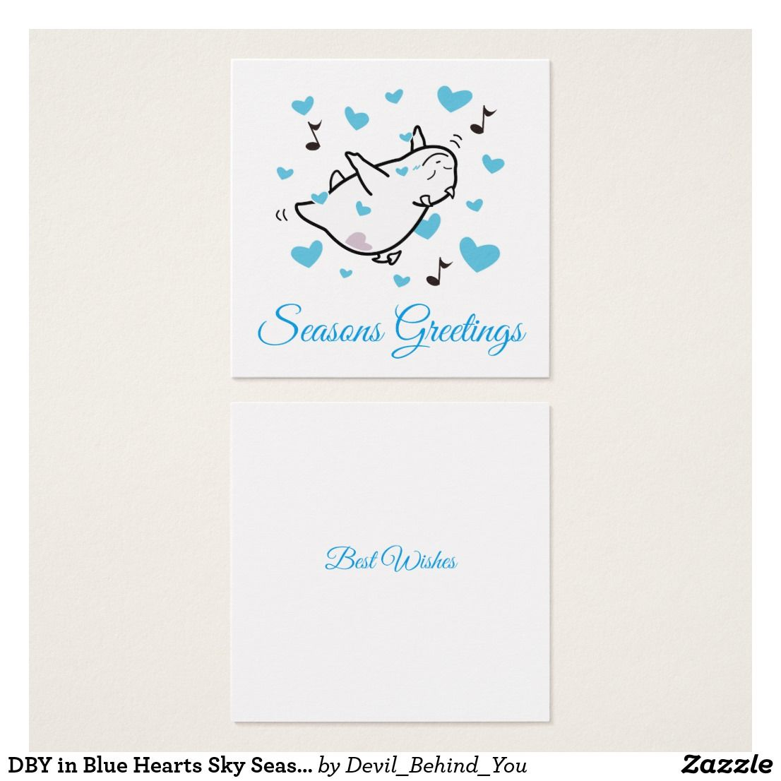 Dby In Blue Hearts Sky Seasons Greeting Square Business Card Dby