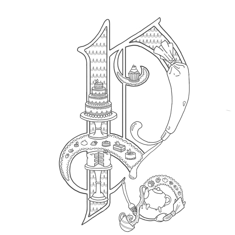 Alice Stanne Illuminated letters, Lettering alphabet