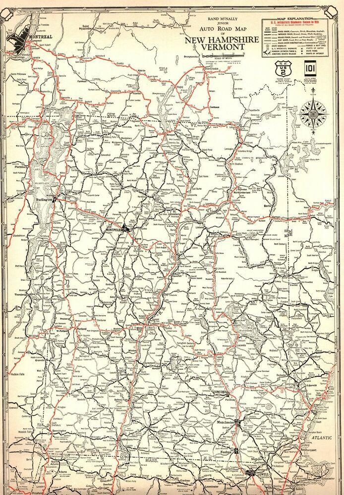 1932 Antique Vermont & New Hampshire Map Auto Trails Road ...