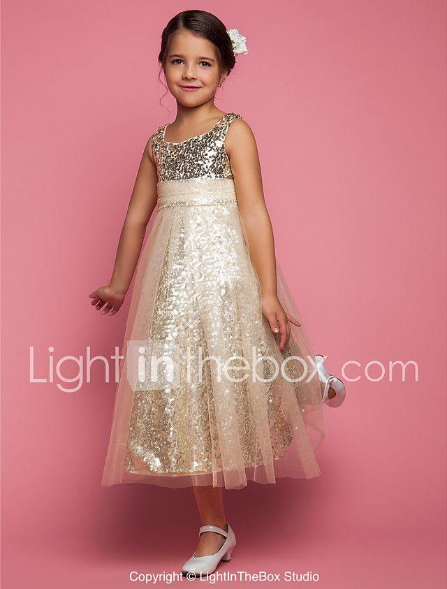 Una línea de princesa de longitud de té vestido de niña de flores ...