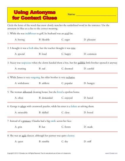 Using Antonyms for Context Clues : Worksheets, Context clues and Free printable worksheets