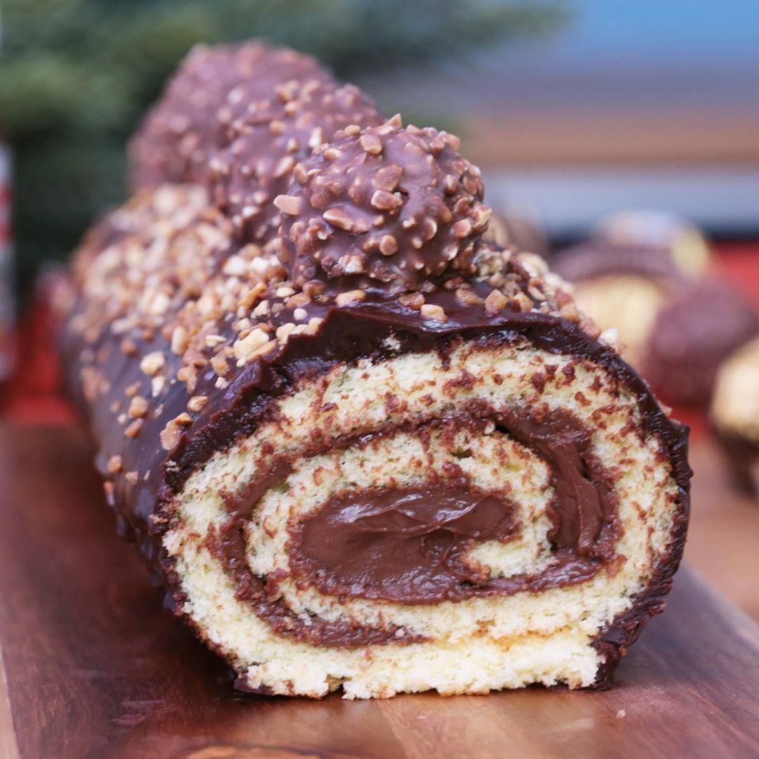 Bûche au ferrero rocher et au Nutella