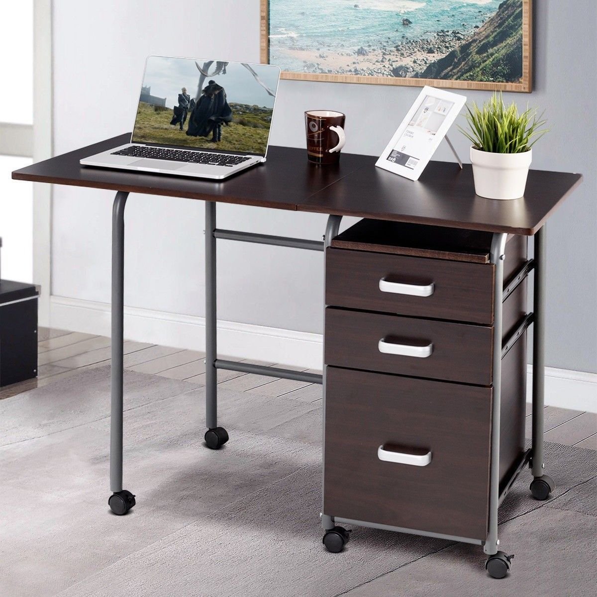 Folding Computer Laptop Desk Wheeled Home Office Furniture Cheap