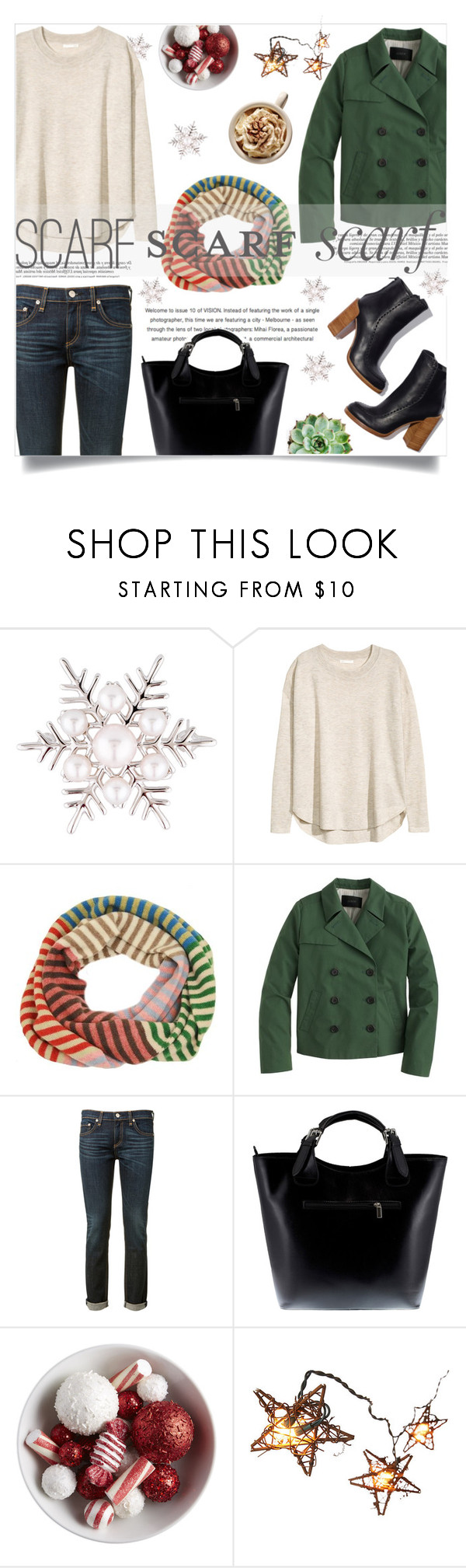 """Fun Winter Scarf!"" by viola-vu ❤ liked on Polyvore featuring Mikimoto, H&M, J.Crew, rag & bone and Massimo Castelli"