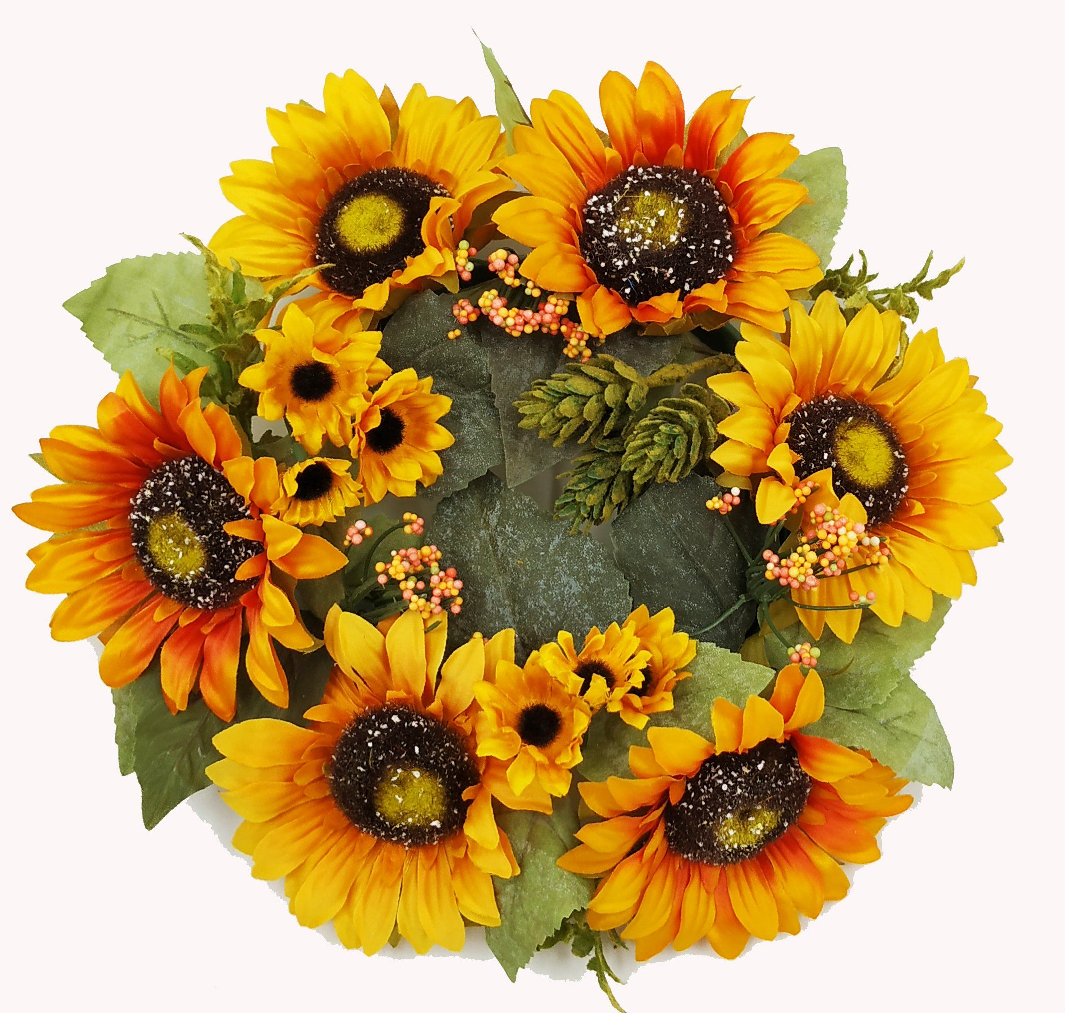 """Fall Autumn Harvest Sunflower Candle Ring,12"""" Candle"""