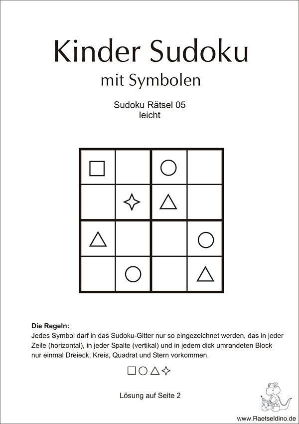 Kinder Sudoku leicht mit Symbolen | Mathe Grundschule | Pinterest ...