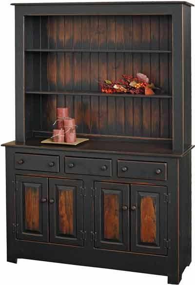 China Cabinet In Farmhouse Cherry Finish Amish Furniture Furniture Rustic China Cabinet