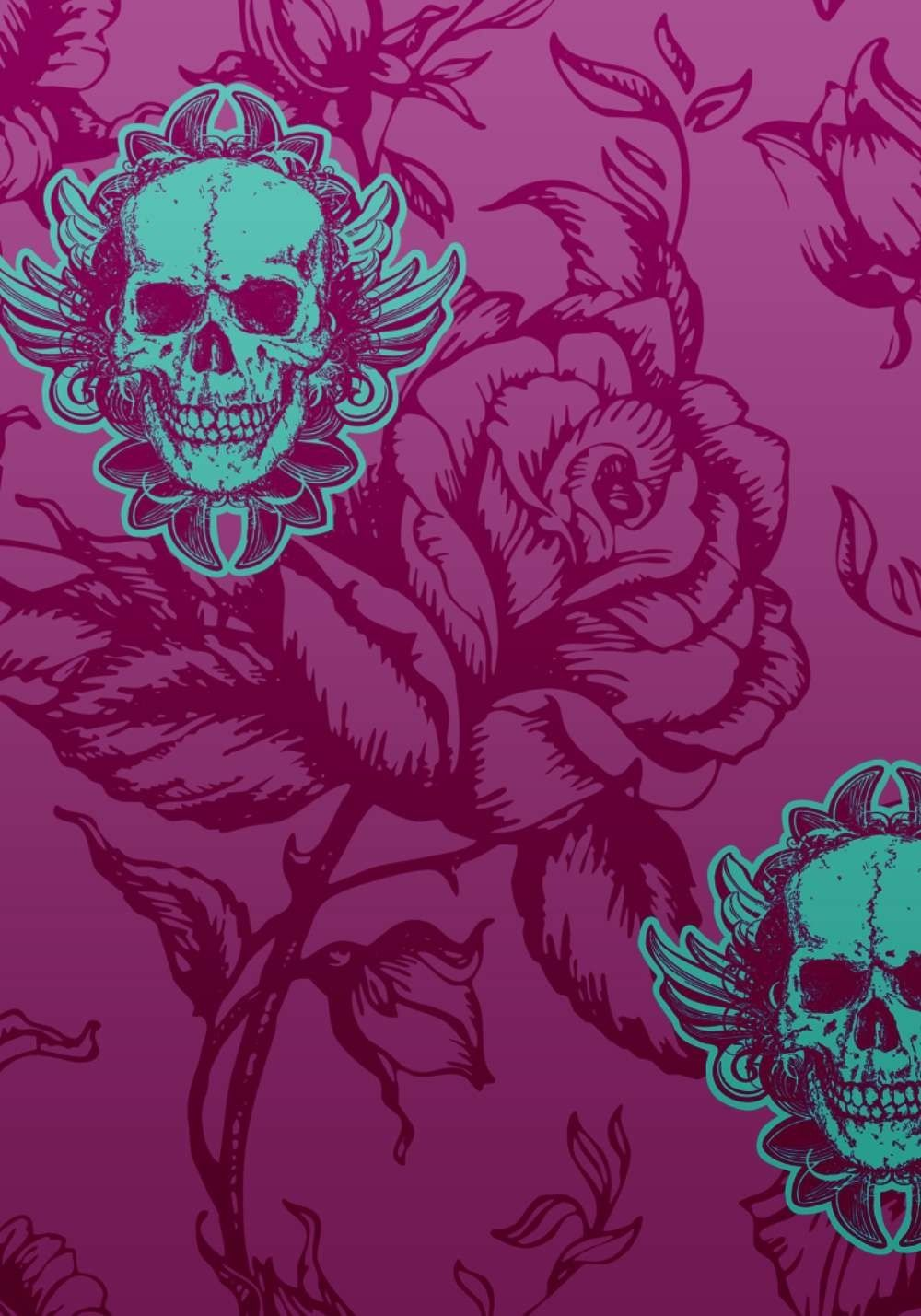 Skull Rose Wallpaper Skull Wallpaper Black Skulls Wallpaper
