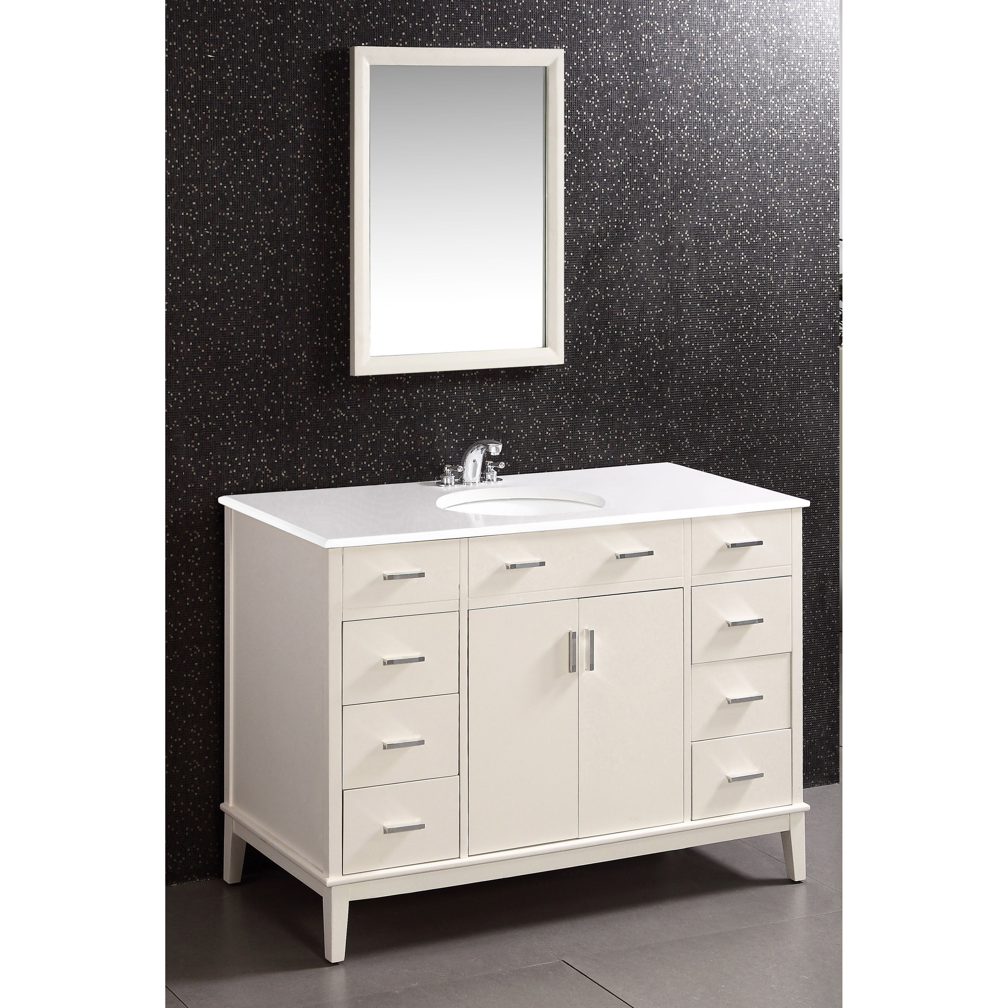 WYNDENHALL Oxford White 48 inch Bath Vanity with 2 Doors and White