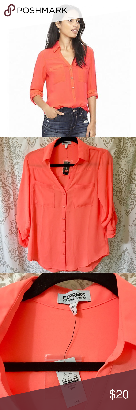 6970d4942939 Neon Orange Express Portofino Shirt New with tags! Convertible sleeve dress  shirt. This can