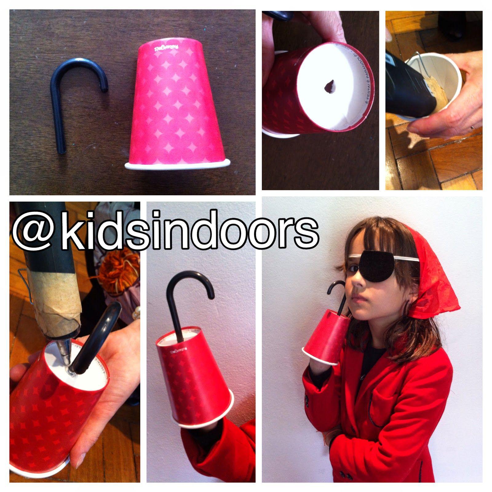 Gancho de pirata homemade   copinho de papel da (usei da marca Parangolé) +  pedaço de cabide de plástico + cola q. 9153b68d1c1