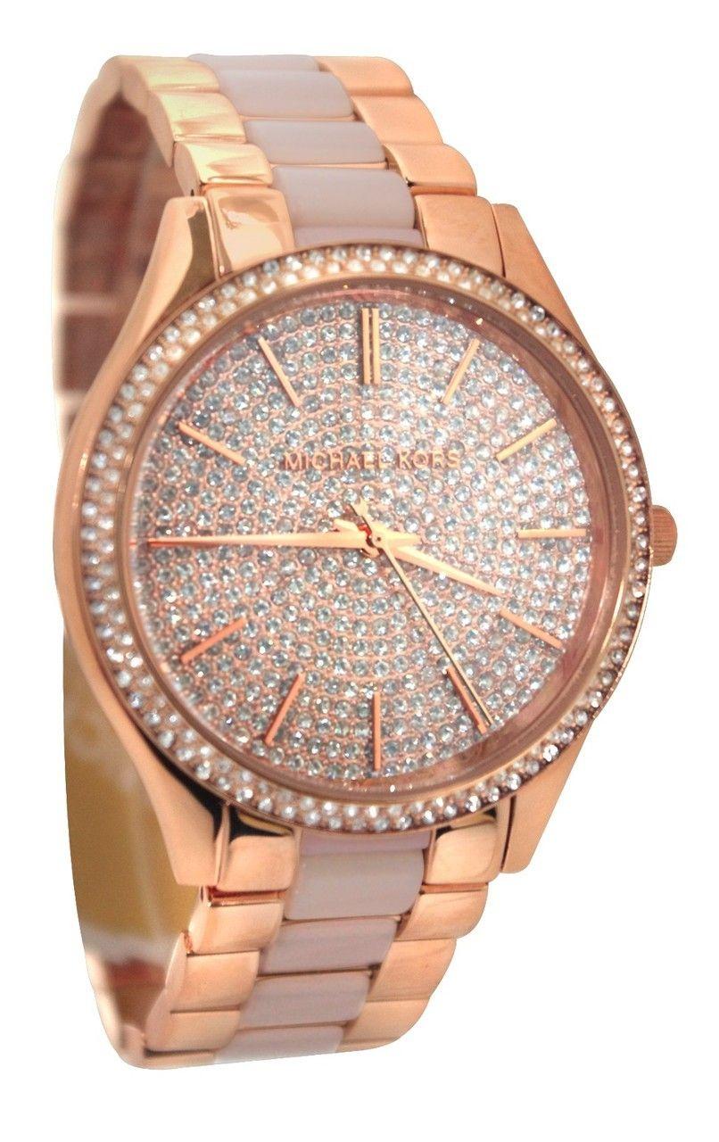 fe1569b7c134 Michael Kors MK4288 Slim Runway RoseGold Women Crystal Pave Dial Watch