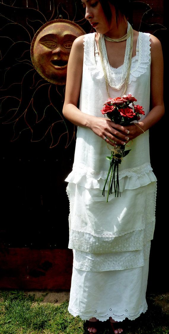 White 1920\'s Style Linen Wedding Dress, Tea Length, Alternative ...