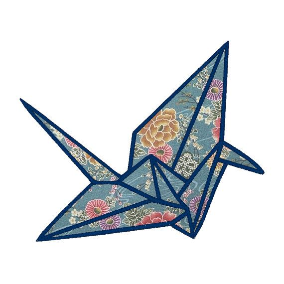 Origami Crane Applique Embroidery Design Pattern For Machine Sewing Super Cute Kawaii Japanese Style Paper Bird
