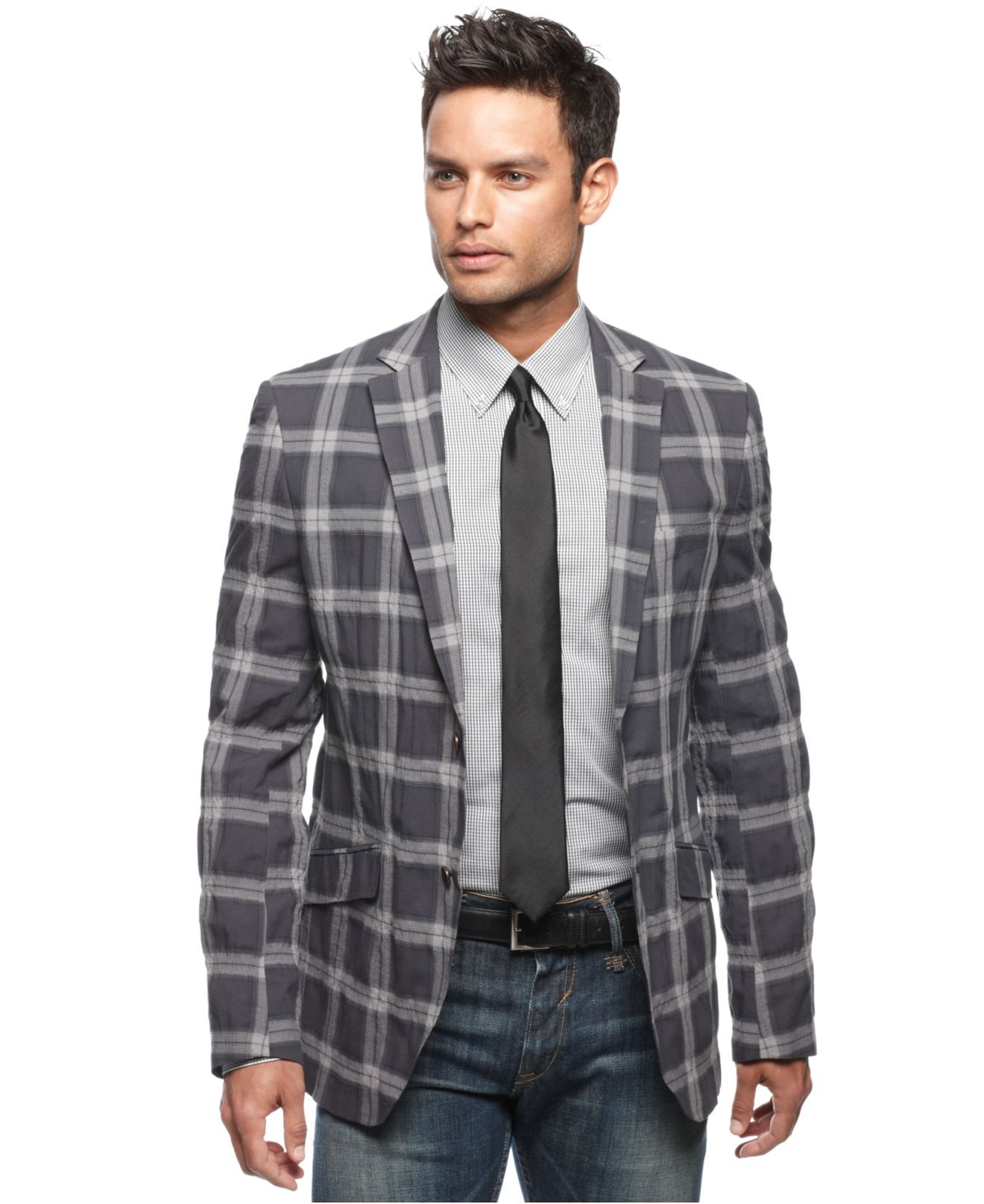 Blazers Jackets Mens: Tallia Orange Jacket, Large Check Slim Fit Blazer