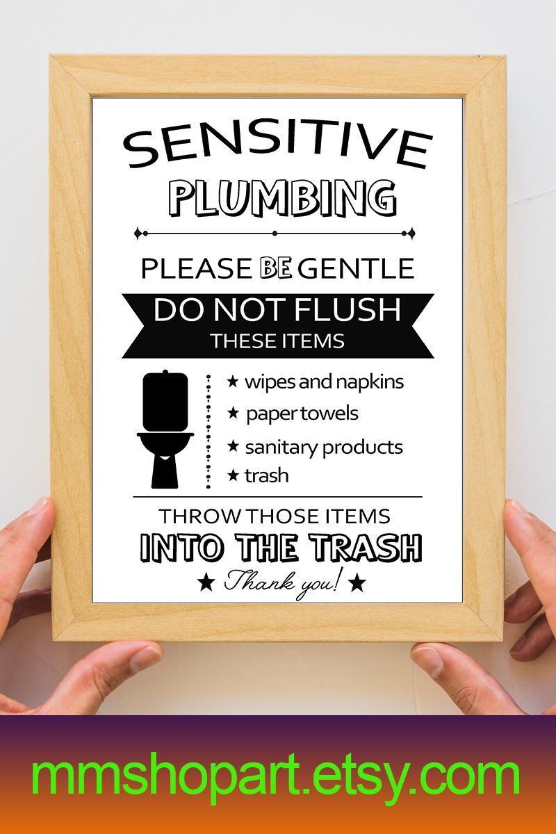 Sensitive Plumbing Print Flush Toilet Sign Septic System Etsy Bathroom Signs Septic Tank Size Funny Bathroom Signs