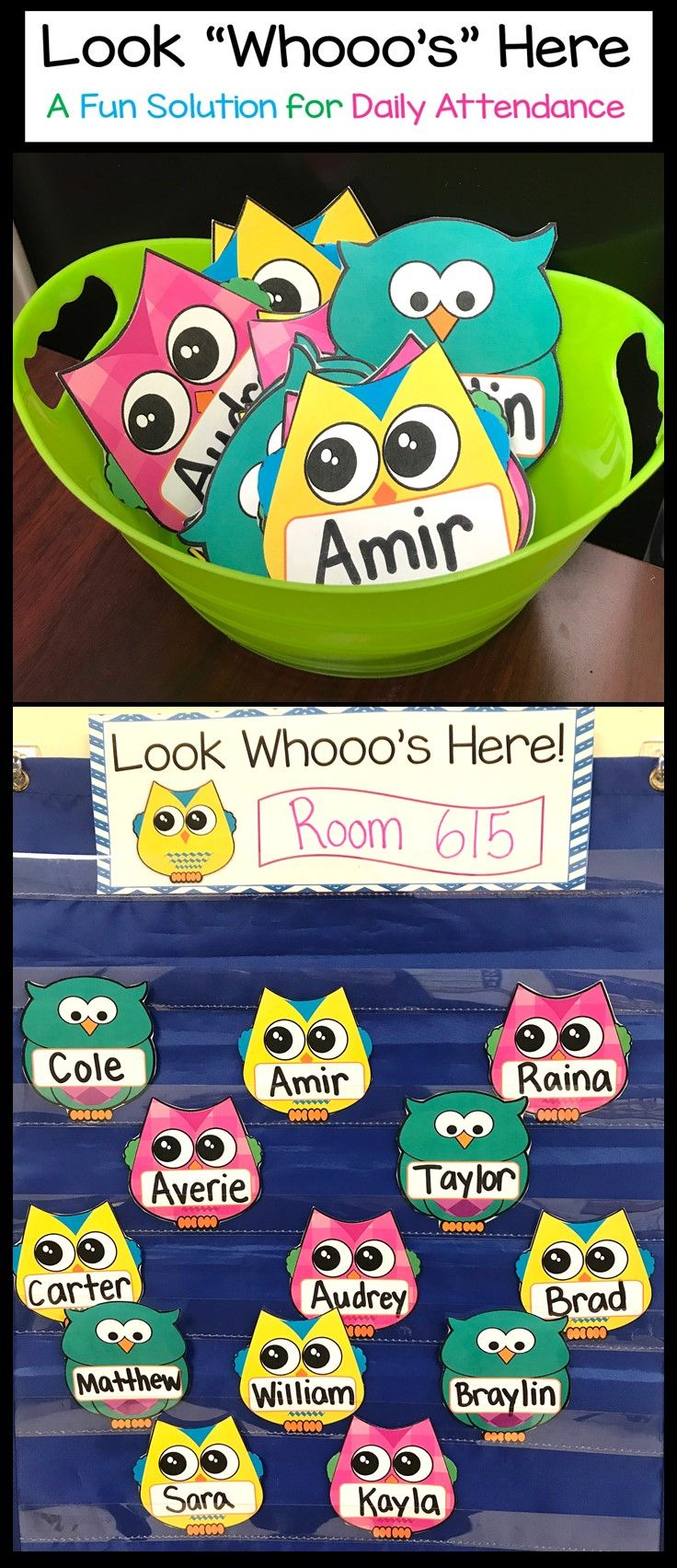 Classroom Attendance Ideas ~ Owl attendance display look who s here name cards