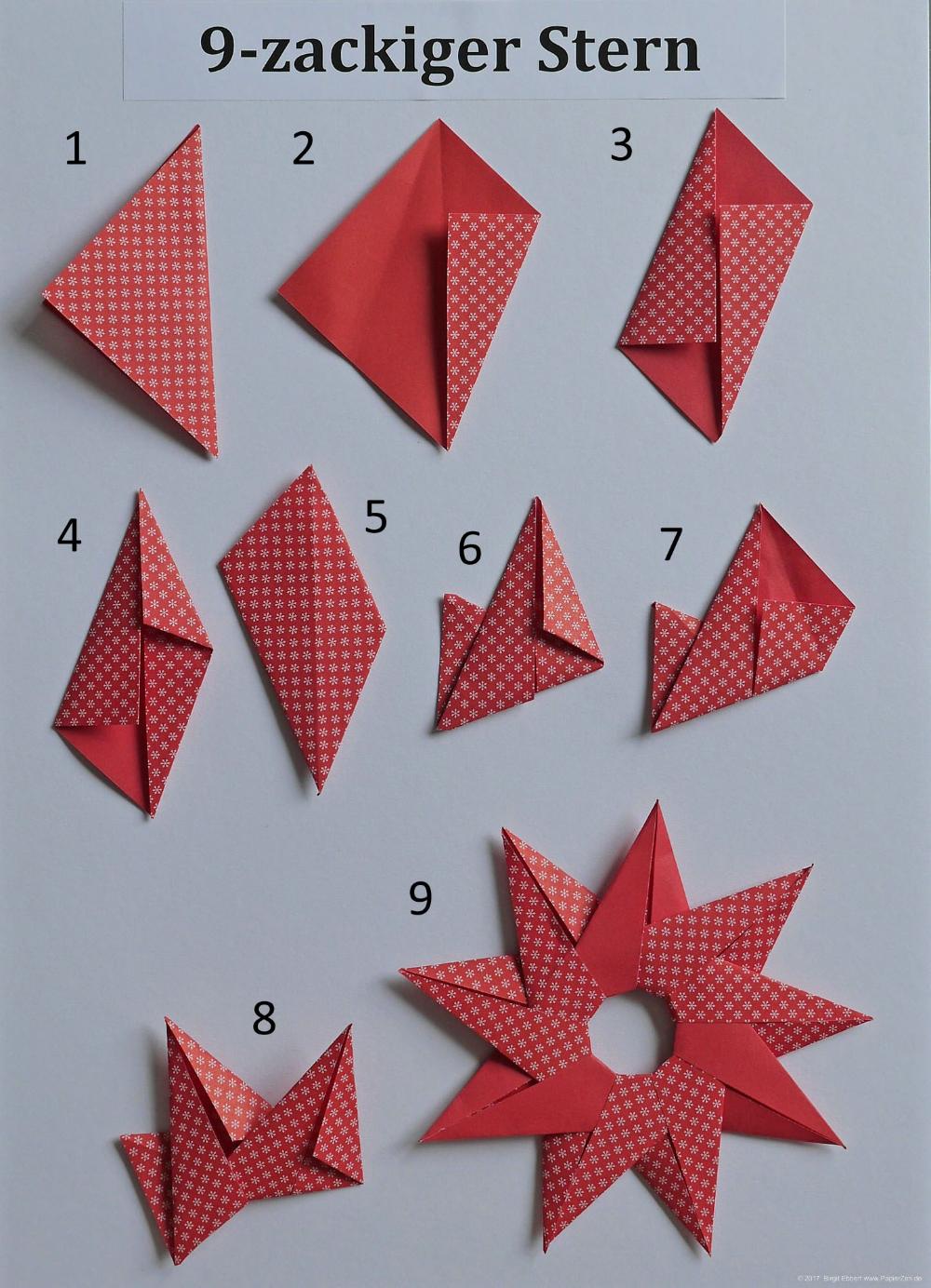 Sonne oder 9-zackiger Stern - PapierZen® #weihnachtsbastelnmitkindernunter3
