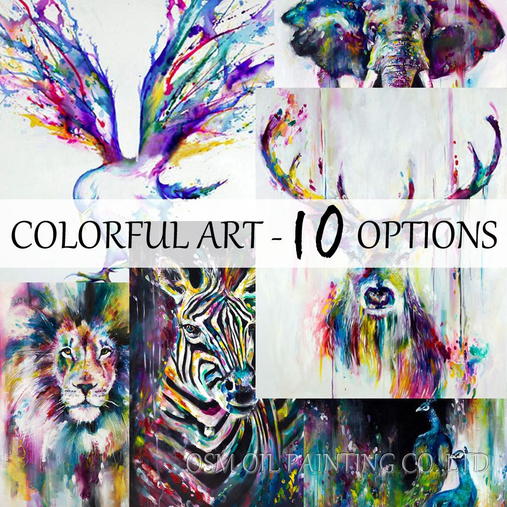 Best Ing Handmade Items Colorful Abstract Paintings Animals Oil Painting Deer Canvas Wall Decor Home Art Adb