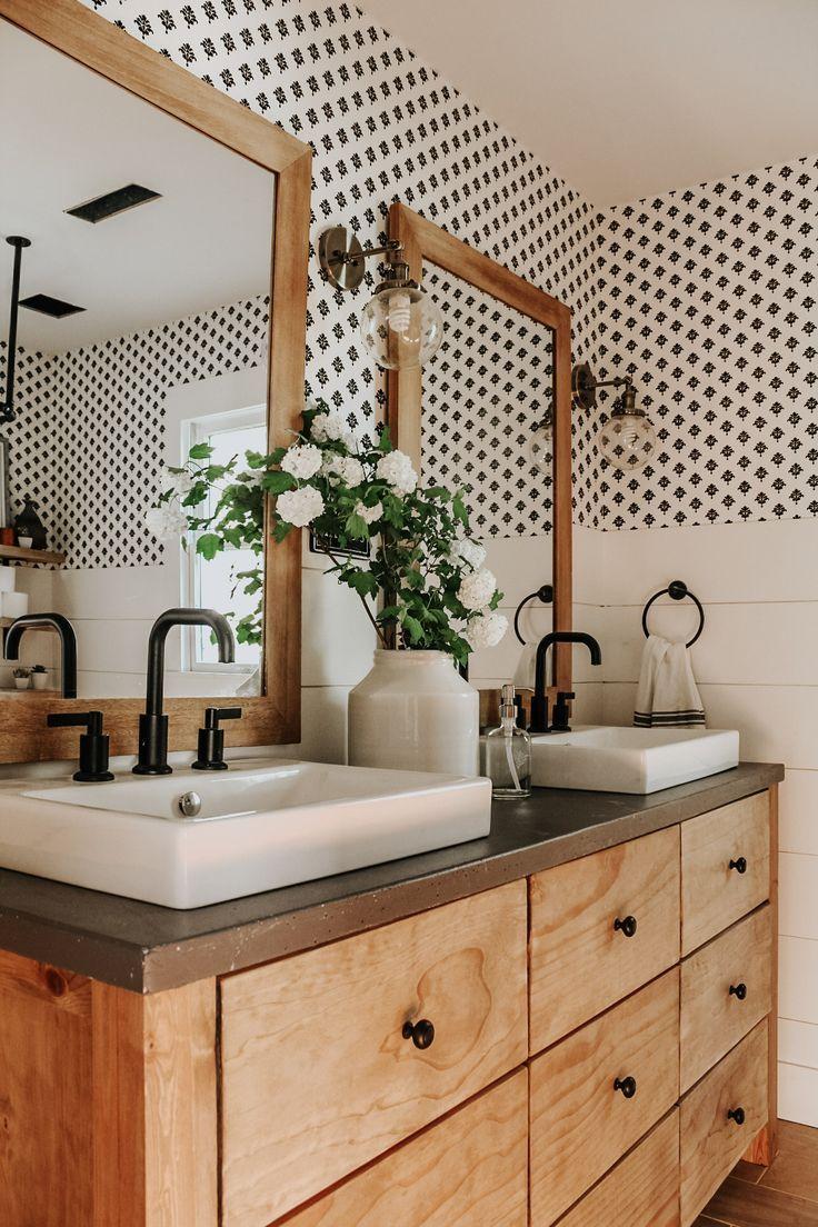 pottery barn vanity hack DIY light wood vanity with wood frame shiplap half way up wall bathroom ideas