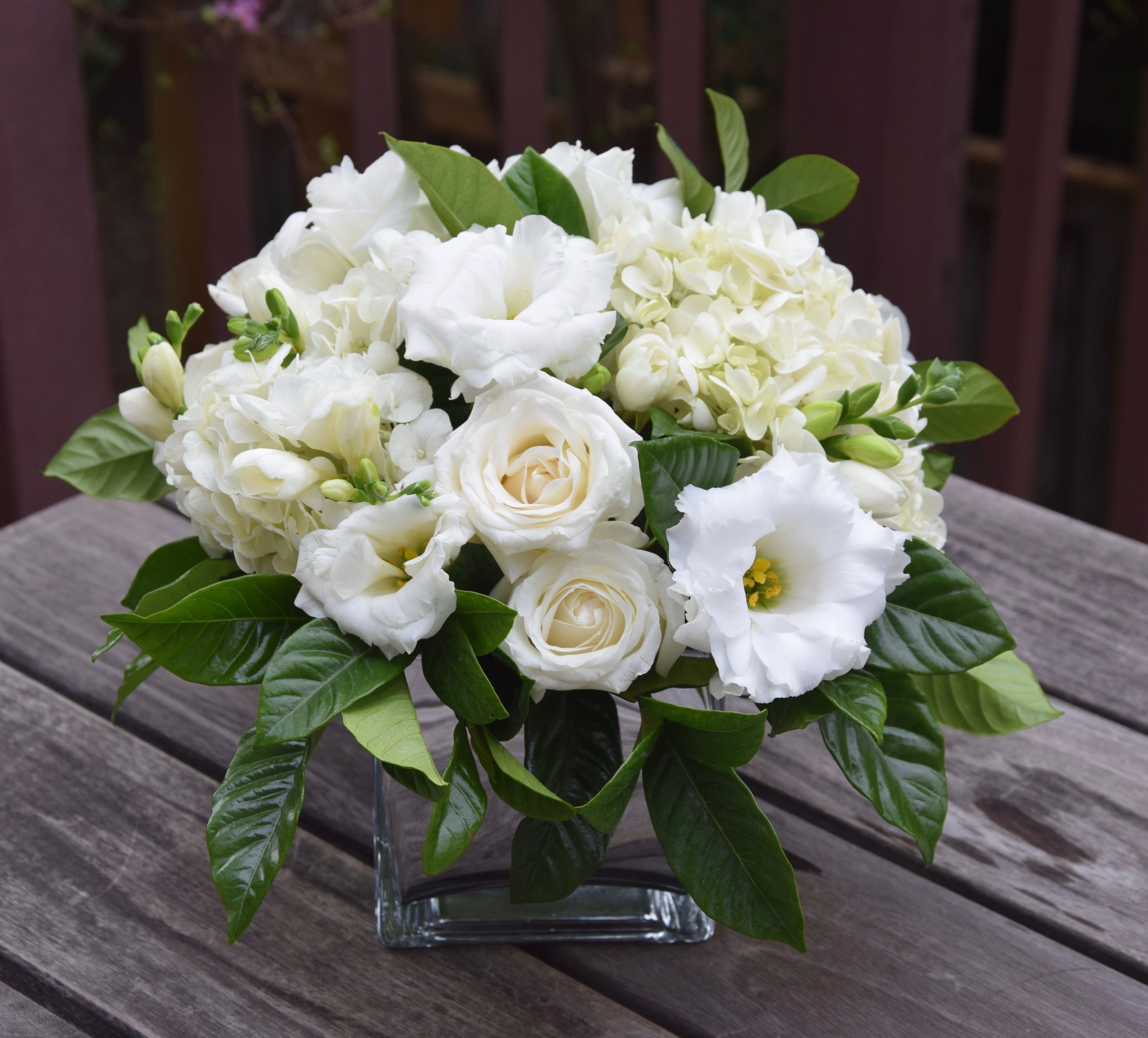 White And Green Fresh Flower Arrangement In A Vase With Gardenia