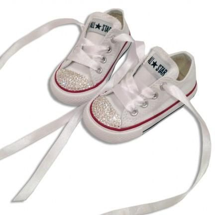 99ef9f9597e Kids Girls Sparkly White Converse All Stars Bling Flower Girl Shoes Wedding  bride - Glitter Shoe Co