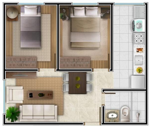 Projeto de apartamento com 2 quartos image for Apartamentos modelos pequenos