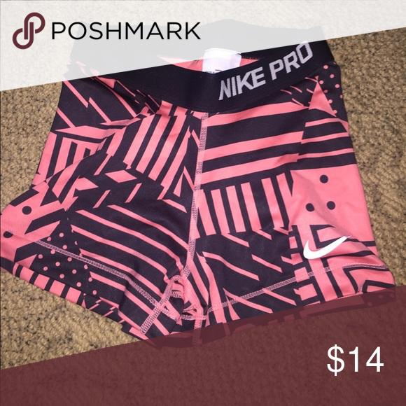 Nike pros Coral and black spandex Nike Shorts
