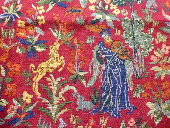 French Red Tapestry Jacquard Fabric Vintage 90s Medieval Unicorn
