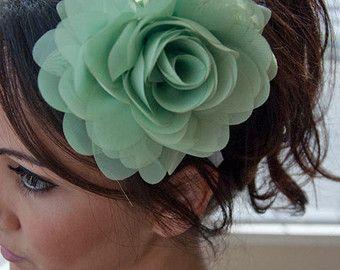 mint flower headband poofy mint green flower on a white ribbon headband