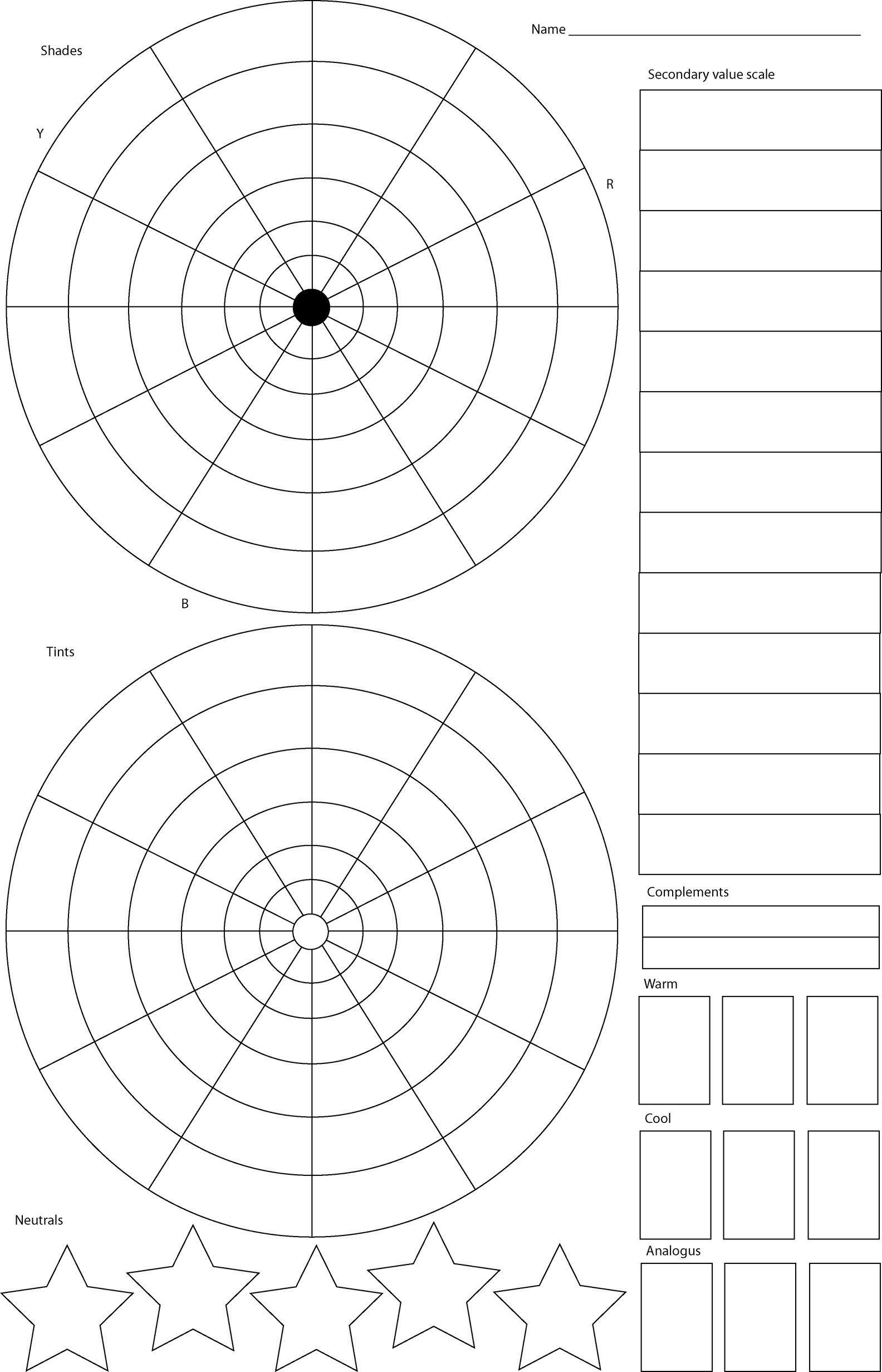 Color wheel worksheets for elementary - Color Wheel Worksheet