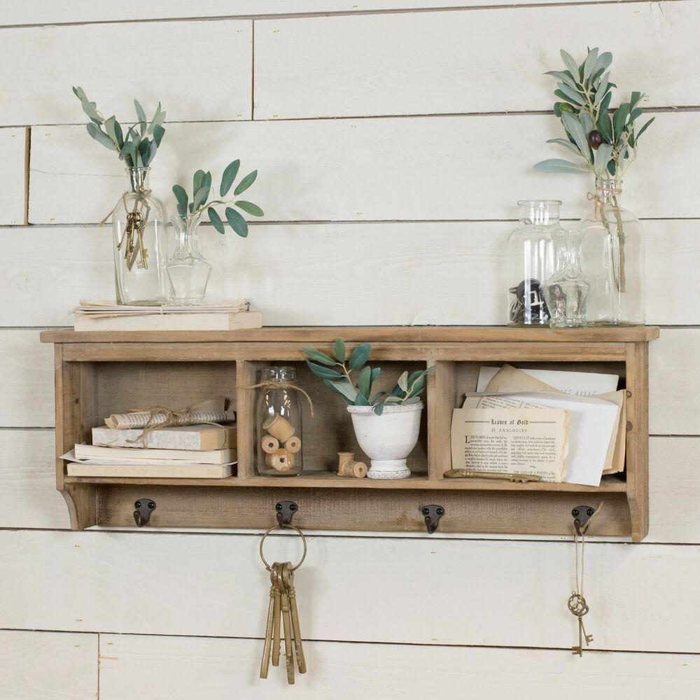 32 Rustic Wood Wall Shelf With Three Cubbies And Four Metal Hooks Vipssci Rustic In 2020 Wall Shelf With Hooks Wood Wall Shelf Wooden Wall Shelves