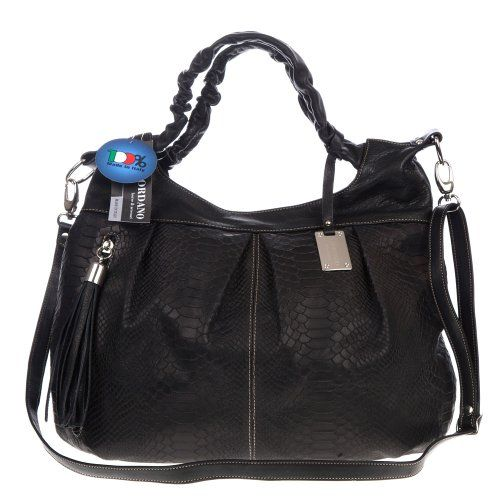 498.00 GIORDANO Italian Made Black Snakeskin Embossed Leather Satchel  Handbag - Stand out from the crowd 9b62806972f33