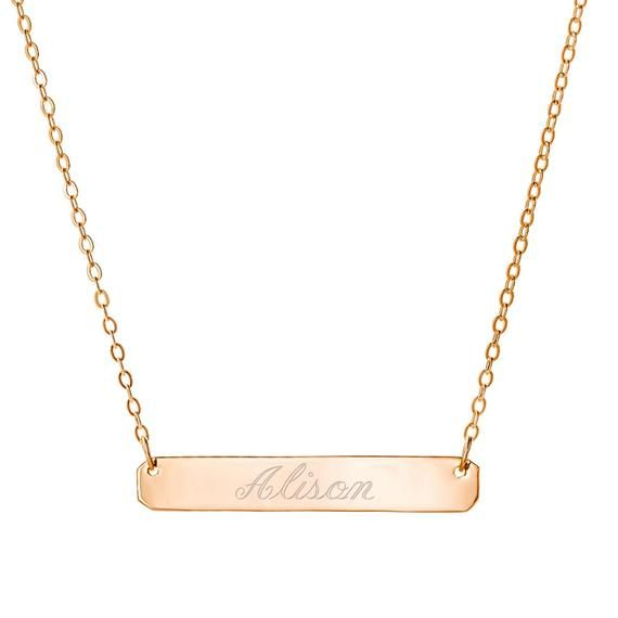 Personalized Initial Name Necklace Gold Bar Necklace Free Engraved Any Name