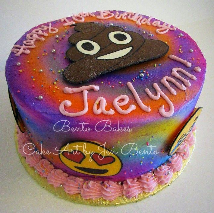 Bento Bakes A Fun Emoji Birthday Cake Airbrushed Colorful Tie Dye Handmade Chocolate Reverse Transfer Pieces Art By Jen